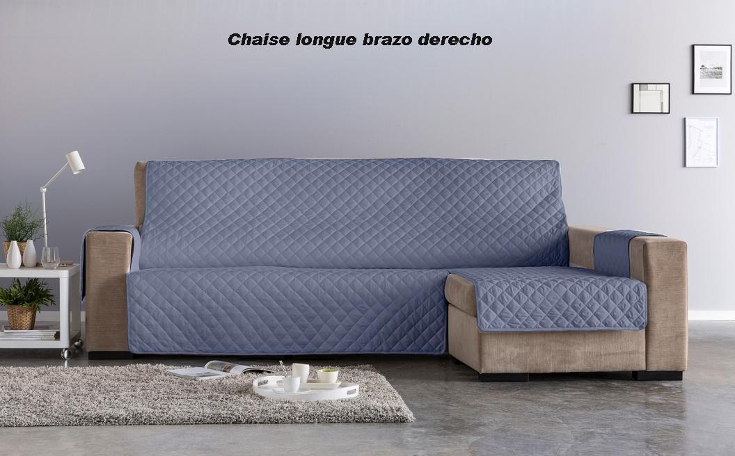 Salva sofá Chaise Longue Edén. Gris Azulado